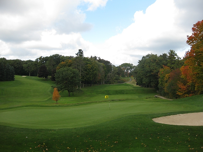 A brilliant landscape: The third green looking back at the tee shot, with the seventh hole fairway to the left.