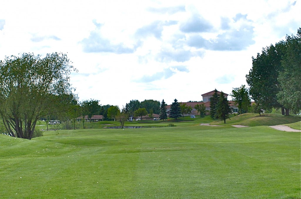 Number 9 on Xena- A great way to finish- over the water to a sloping green